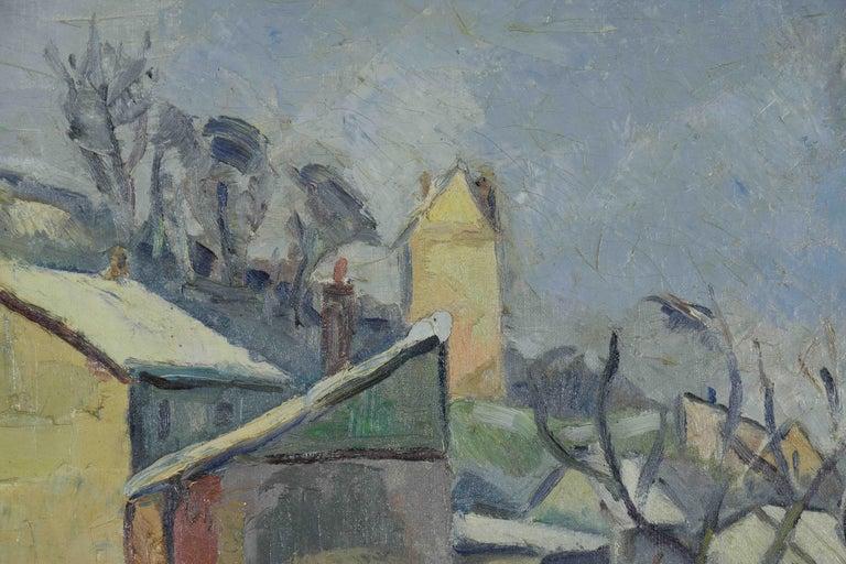 Neige à Rouen by GEORGES CYR - Snow scene, landscape painting, oil on canvas For Sale 1