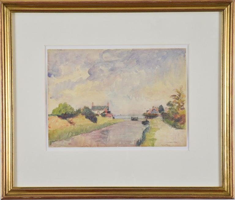 Écluses à Combleu by LUDOVIC-RODO PISSARRO (1878-1952) - Watercolour landscape - Art by Ludovic-Rodo Pissarro