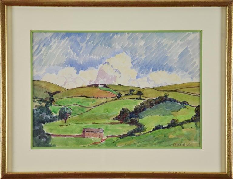Ludovic-Rodo Pissarro Figurative Art - Paysage by LUDOVIC-RODO PISSARRO (1878-1952) - Pastoral watercolour on paper