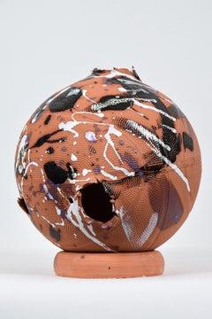 Terraball by NAM TRAN - Terracotta sculpture, Paint Splatter, Basketball, Art