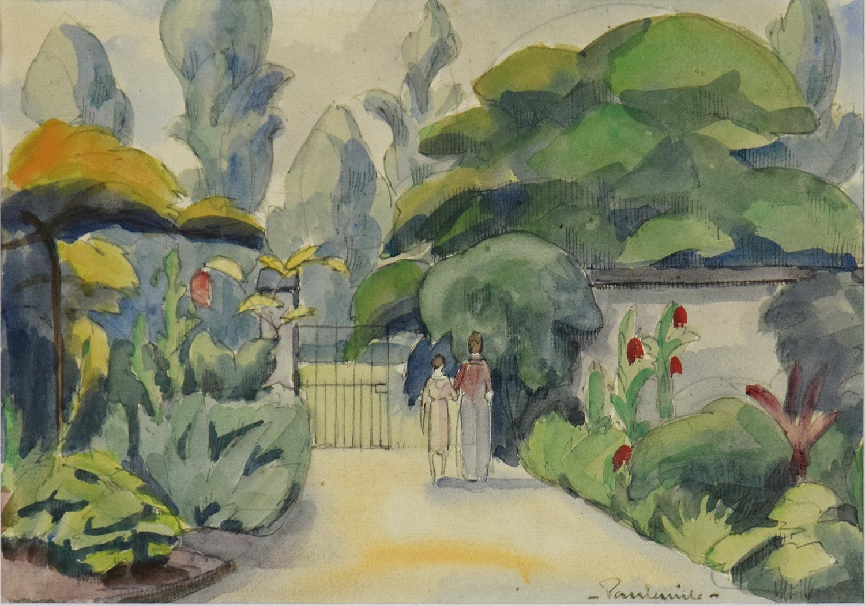 Deux Personnages dans un Jardin, watercolour landscape art by Paulémile Pissarro