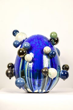 Atomic Egg by NAM TRAN - Unique Hand-Made Sculpture, Blue Egg, Porcelain Art