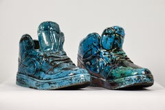 Sole Trainers by NAM TRAN - Sneakers, Ceramics, Turquoise, Raku Clay, Sculpture