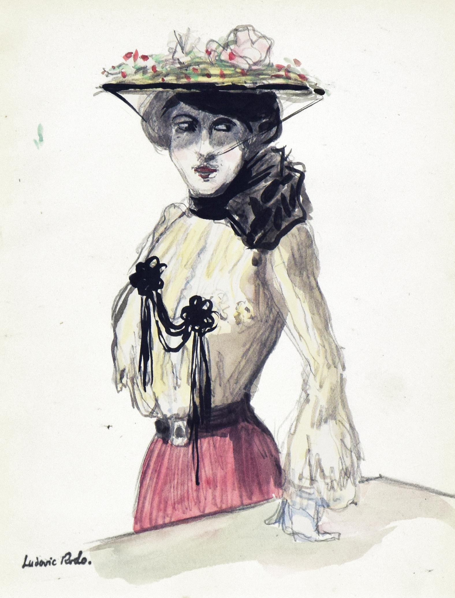 La Parisienne by Ludovic-Rodo Pissarro - Watercolour, Portrait, School of Paris
