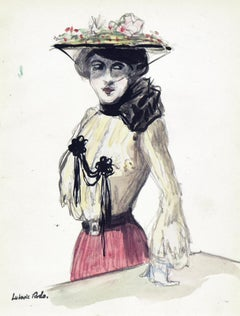 La Parisienne by Ludovic-Rodo Pissarro - Watercolour, Portrait, School of Paris