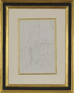 Drawing of an interior by Henri Matisse titled Étude pour Intérieur, Nice, 1919