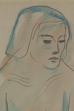 Kneeling nude by Leon Underwood