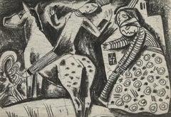 The Rider by Béla Kádár - Charcoal Drawing