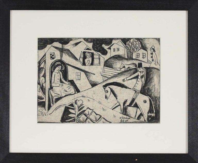 Village Scene by Béla Kádár - Charcoal drawing For Sale 1