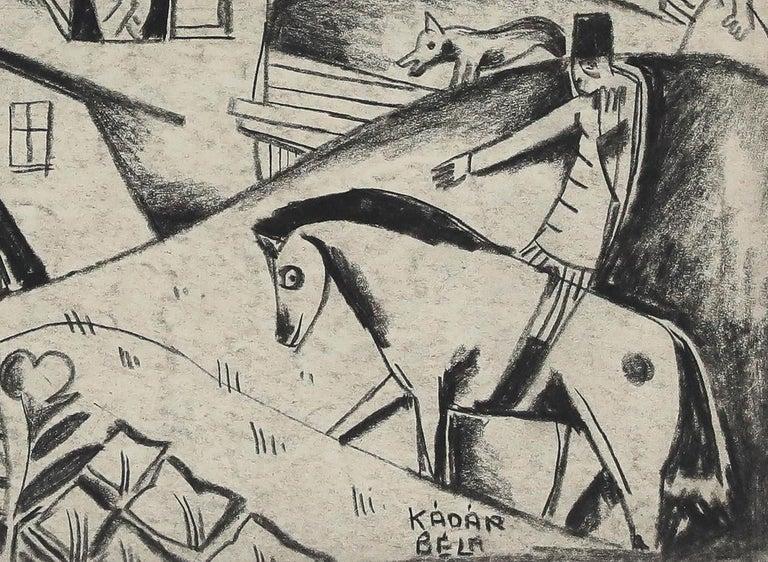 Village Scene by Béla Kádár - Charcoal drawing For Sale 2
