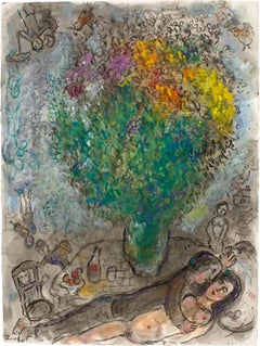 Couple Allongé au Grand Bouquet by Marc Chagall - Russian painter