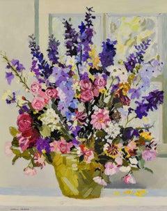 Les Delphiniums de Mamy by Corinne Pissarro - Contemporary flower painting