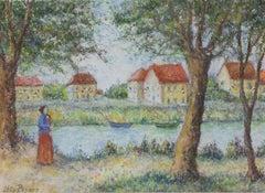 Le 14 juillet au bord de la Seine by Lélia Pissarro - Figurative pastel