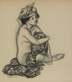 Créole au turban by Georges Manzana Pissarro - Charcoal on paper