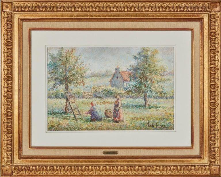 La Cueillette by H. Claude Pissarro - Post-Impressionist pastel drawing - Art by Hughes Claude Pissarro