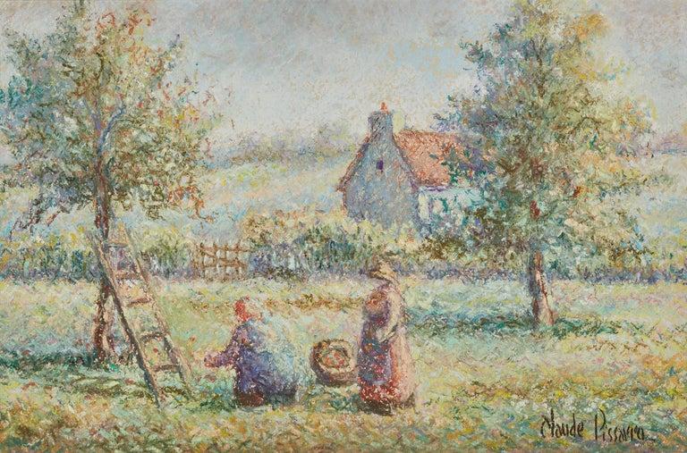 Hughes Claude Pissarro Figurative Art - La Cueillette by H. Claude Pissarro - Post-Impressionist pastel drawing