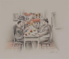 El Brindis by Fernando Botero, Charcoal and pastel on paper, 1993
