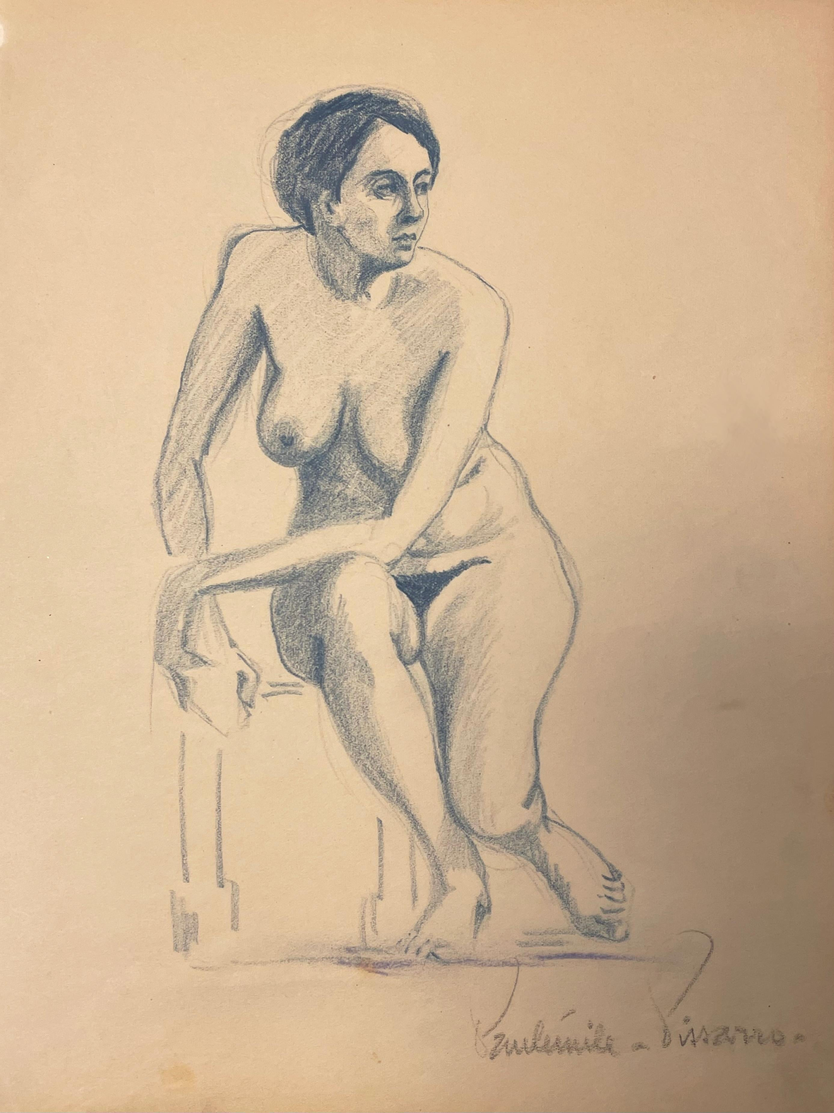 Nue Assise by Paulémile Pissarro - Nude drawing