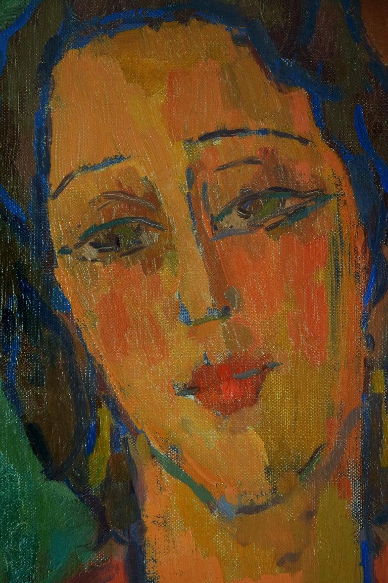 Femme Robe Rouge by Zygmunt Landau - School of Paris - Portrait  For Sale 2