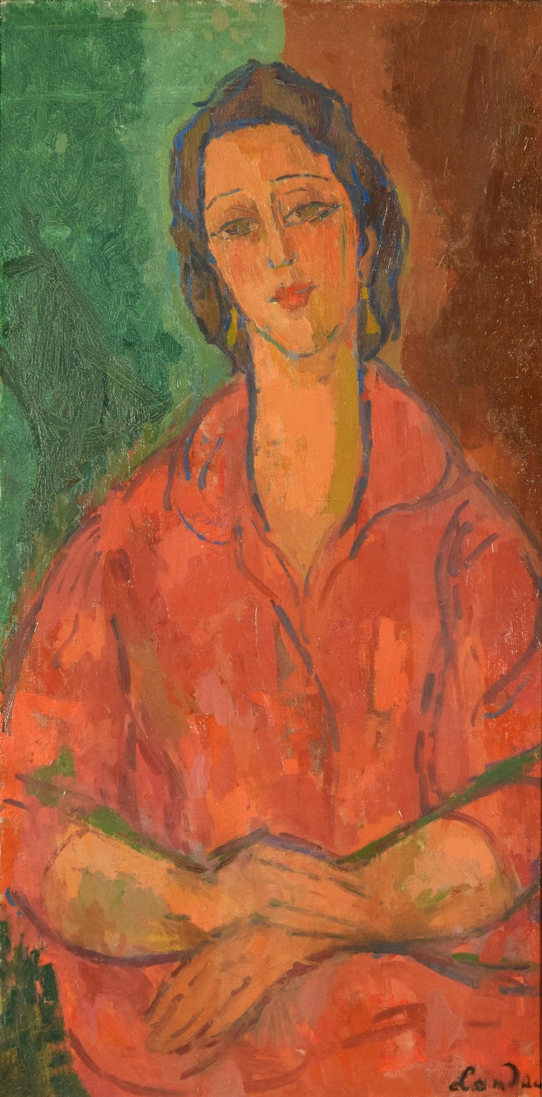 ZYGMUNT LANDAU (1898-1962)  Femme Robe Rouge  Oil on canvas 98 x 48 cm (38 ⅝ x 18 ⅞ inches) Signed lower right, Landau   Provenance Private Collection, London   Painter Zygmunt Landau was born in Łódź (Russian Poland) in the last years of the