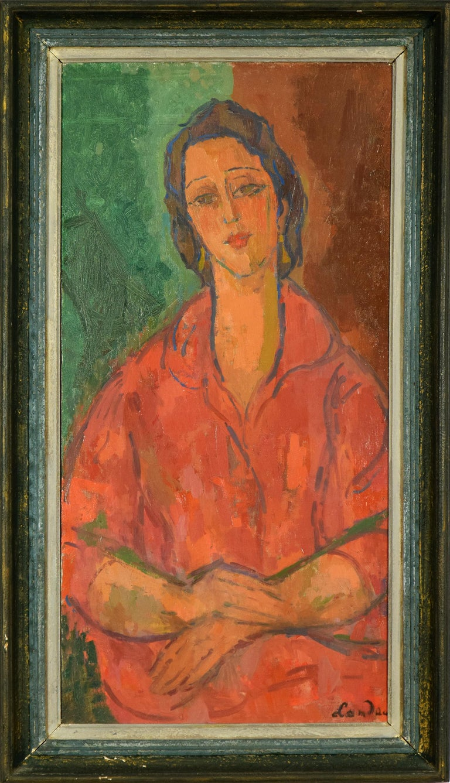 Femme Robe Rouge by Zygmunt Landau - School of Paris - Portrait  For Sale 1