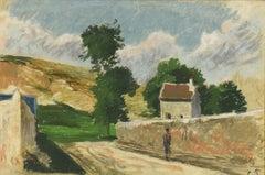 Une Rue à l'Hermitage, Pontoise by Camille Pissarro - Impressionist pastel