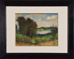 Flusslandschaft in Thüringen by Lesser Ury - Impressionistic style pastel
