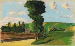 Paysage à Pontoise by Camille Pissarro - Impressionist landscape pastel on paper