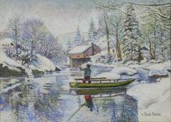 Neige aux Bords du Doubs: la Barque Jura Neuchâtelois en Hiver