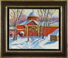 La Maison Rouge sous la Neige by Katia Pissarro - Oil painting/Snowscene