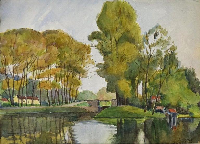 Vue de Moret-sur-Loing, LUDOVIC-RODO PISSARRO - Watercolour, Post-Impressionist For Sale 1