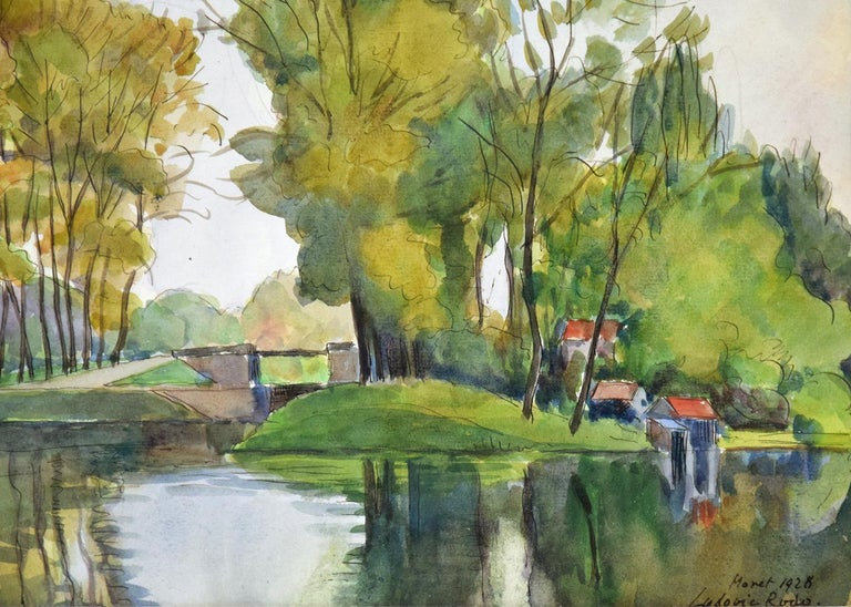 Vue de Moret-sur-Loing, LUDOVIC-RODO PISSARRO - Watercolour, Post-Impressionist For Sale 2