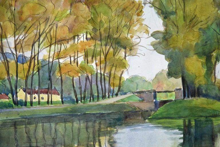 Vue de Moret-sur-Loing, LUDOVIC-RODO PISSARRO - Watercolour, Post-Impressionist For Sale 3