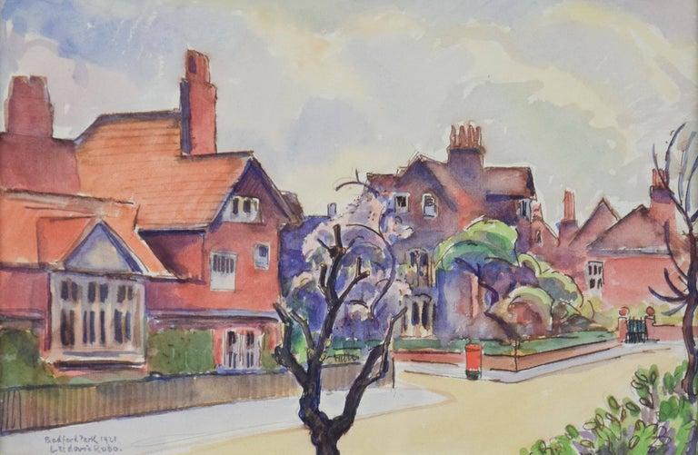 Bedford Park, LUDOVIC-RODO PISSARRO - Watercolour, Town Scene, 20th Century - Art by Ludovic-Rodo Pissarro