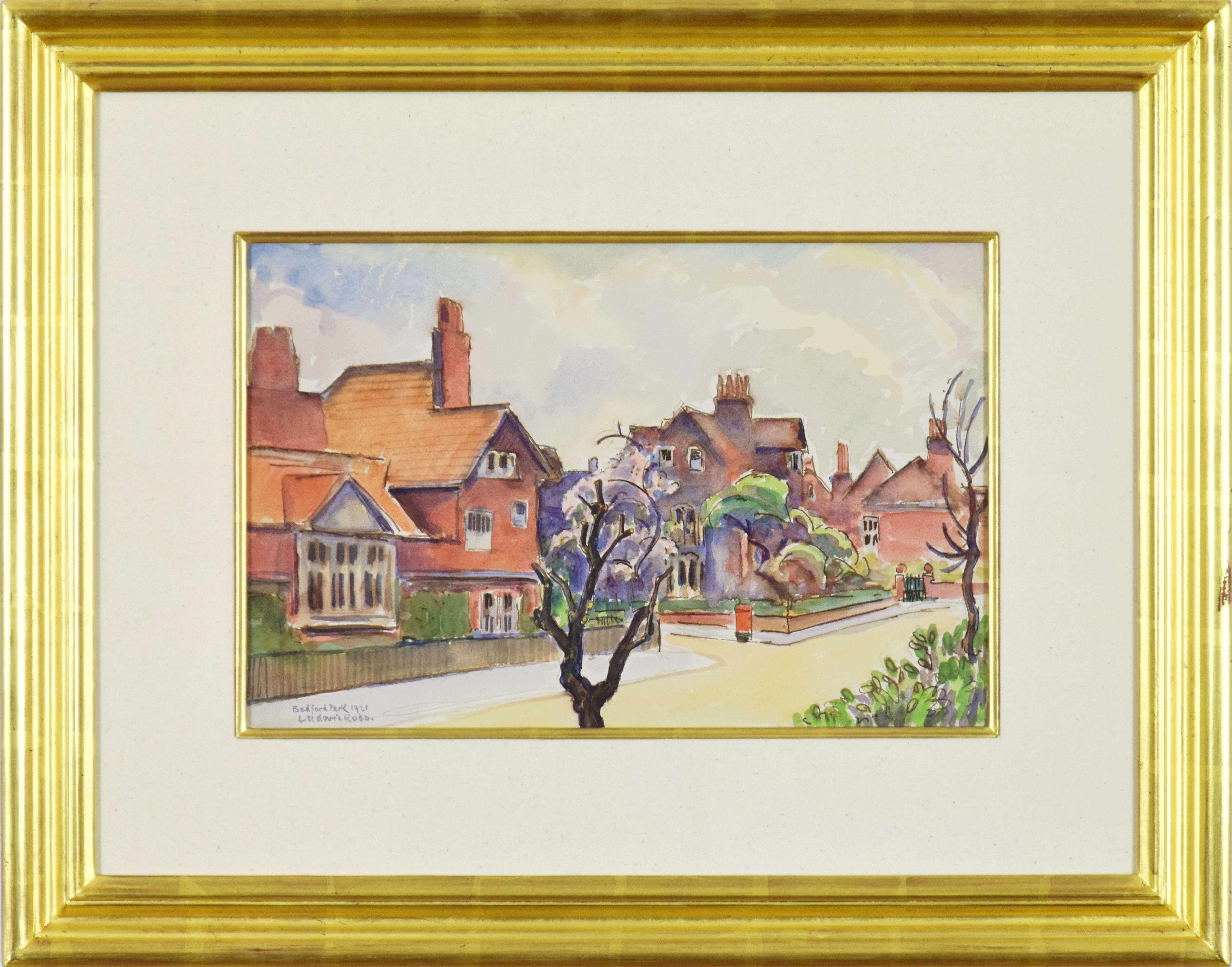Bedford Park, LUDOVIC-RODO PISSARRO - Watercolour, Town Scene, 20th Century