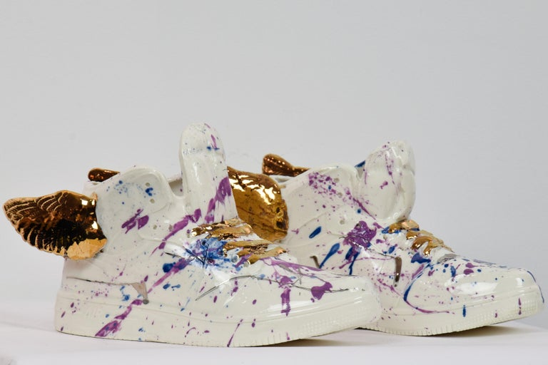 Nam Tran Still-Life Sculpture - Just Wing It by NAM TRAN - Ceramic, Sculptor, Contemporary, Shoes
