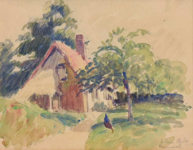 Berneval, LUDOVIC-RODO PISSARRO-Post-Impressionist, Watercolour, House, Village - Art by Ludovic-Rodo Pissarro