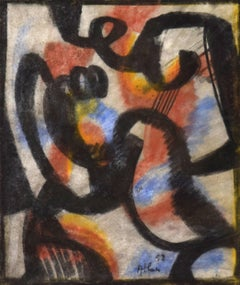 Composition by Jean-Michel Atlan - CoBrA group, abstract work on paper