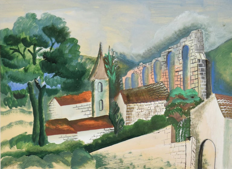 Le Village à l'Aqueduc by Ossip Zadkine - Gouache on paper, landscape art For Sale 1