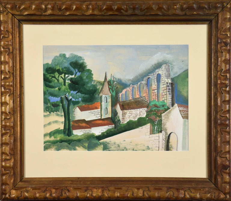 Le Village à l'Aqueduc by OSSIP ZADKINE (1890-1967) Gouache on paper 54.5 x 70 cm (21 1⁄2 x 27 1⁄2 inches)  Signed lower left, O. Zadkine 28  Artist biography School of Paris sculptor, painter of watercolours and gouaches, lithographer and tapestry
