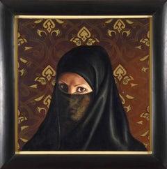 Self-Portrait Under Veil by FATMA ABU RUMI - Contemporary portrait art, painting