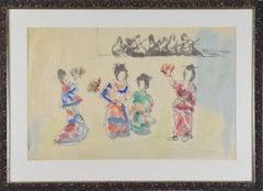 Geisha Girls by MANE-KATZ - Watercolour and ink on paper, figurative art
