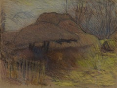 Study of Trees with a Gate in the Foreground by SIR GEORGE CLAUSEN - Landscape