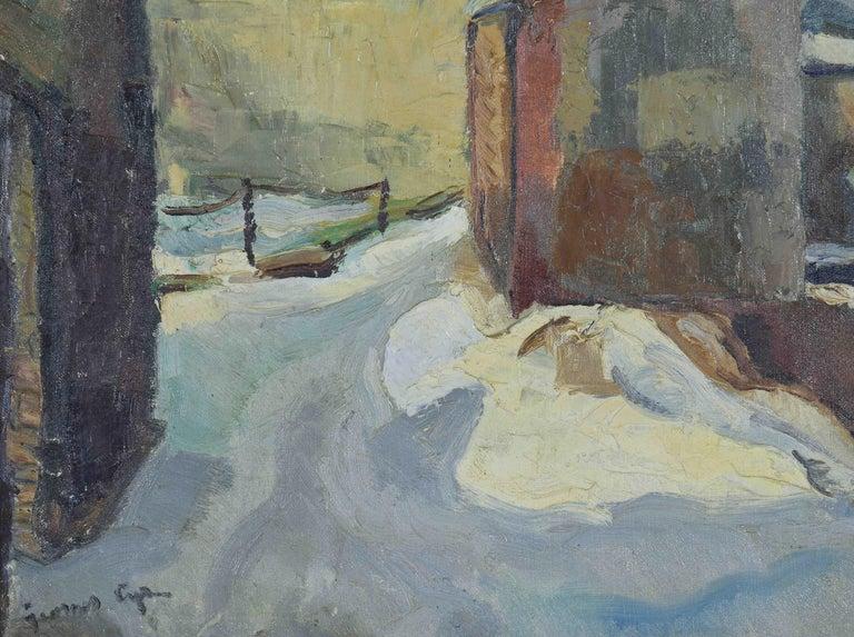 Neige à Rouen by GEORGES CYR - Snow scene, landscape painting, oil on canvas - Post-Impressionist Painting by Georges Cyr