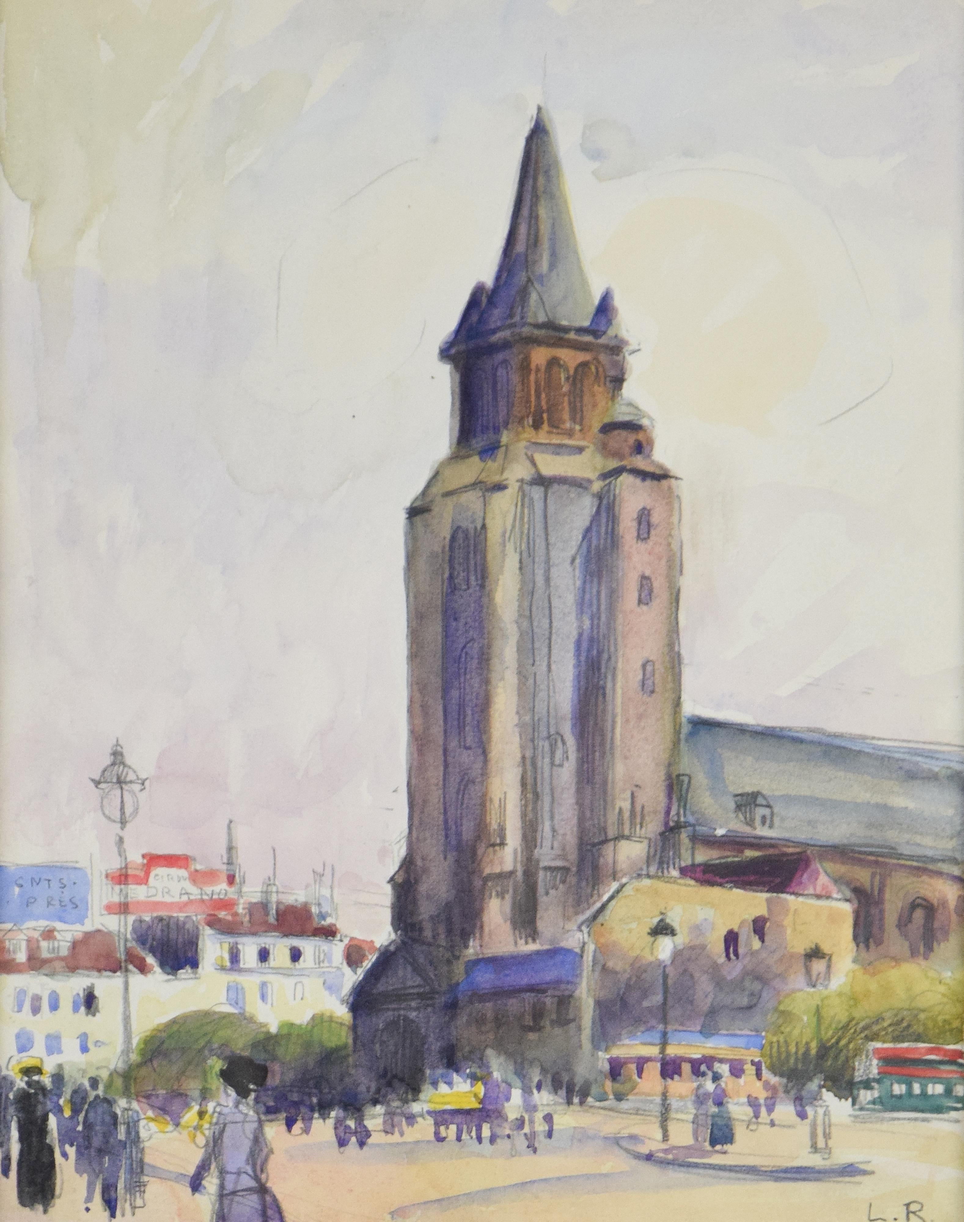 Eglise St. Germain des Prés by LUDOVIC-RODO PISSARRO - church, watercolour, art