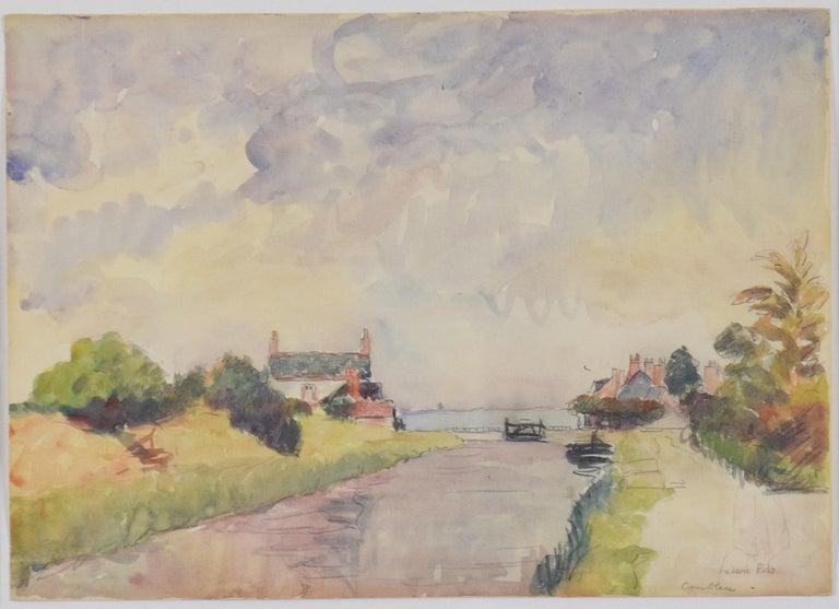 Ludovic-Rodo Pissarro Landscape Art - Écluses à Combleu by LUDOVIC-RODO PISSARRO (1878-1952) - Watercolour landscape