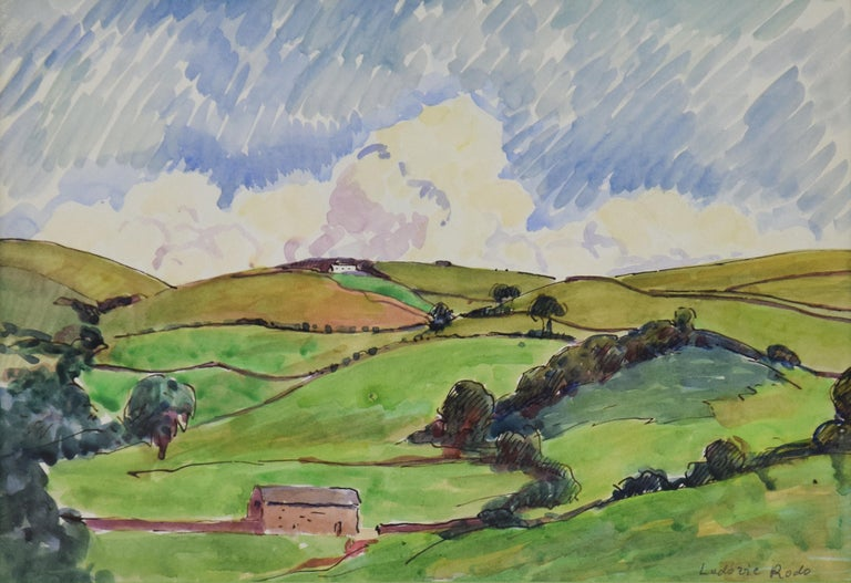 Paysage by LUDOVIC-RODO PISSARRO (1878-1952) - Pastoral watercolour on paper - Art by Ludovic-Rodo Pissarro