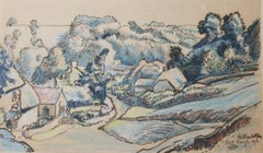 Milton Bottom, East Knoyle, 1916 by LUCIEN PISSARRO - Crayon and ink on paper