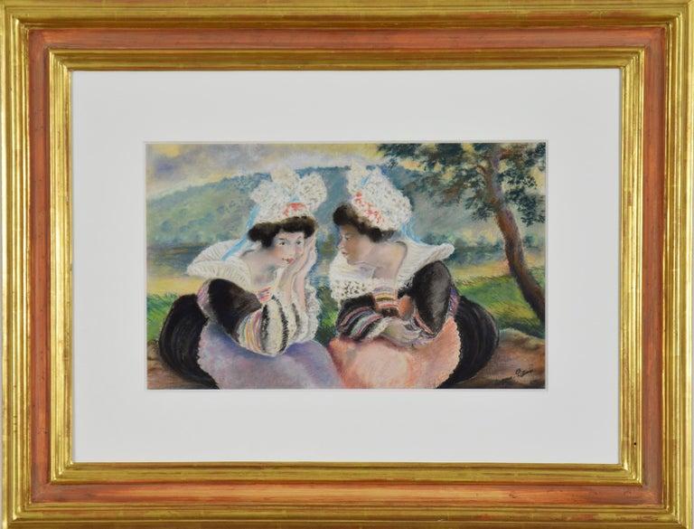 Georges Henri Manzana Pissarro Figurative Art - River landscape with two Breton women, circa 1930 by Georges Manzana Pissarro