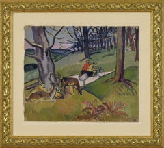Motorcycle Ride in Richmond Park, circa 1919, artwork by Ludovic-Rodo Pissarro